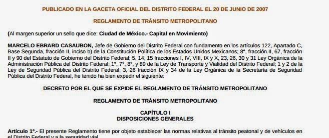 Reglamento De Transito Df 2019 En Pdf Area Metropolitana