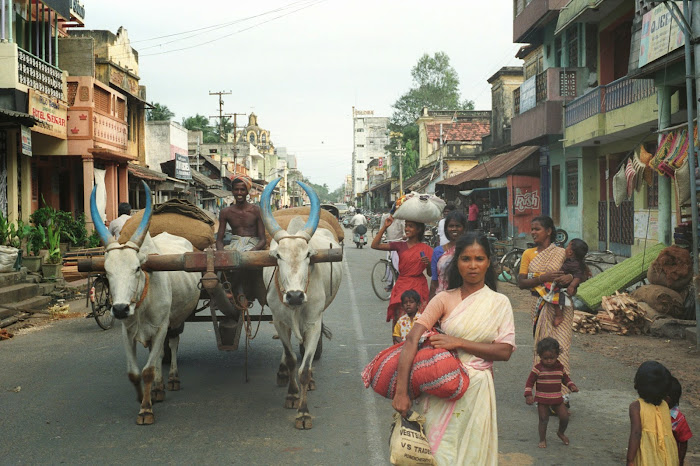 Pondichéry, rue Bharati, © L. Gigout, 1990