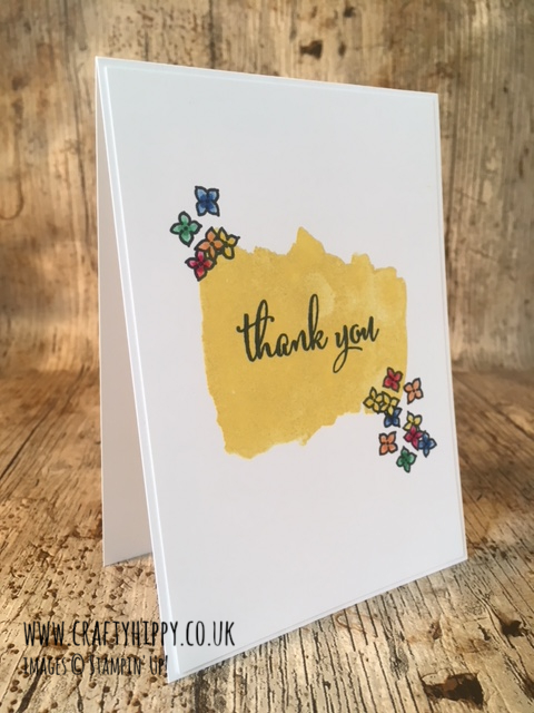 This image shows a handmade Thank You card made with the Love What You Do stamp set by Stampin' Up!