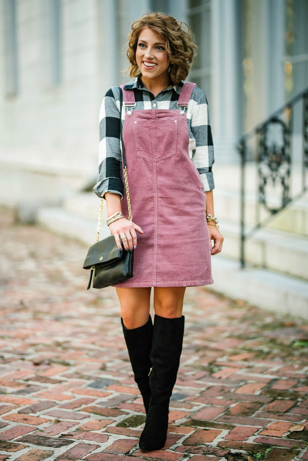 Fall Style: Pink Corduroy Pini + Black and White Plaid Shirt - Something Delightful Blog