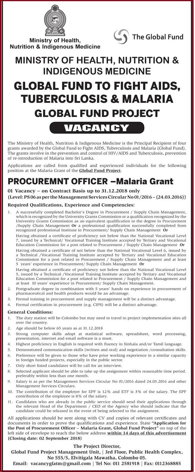 Procurement Officer - Malaria Grant