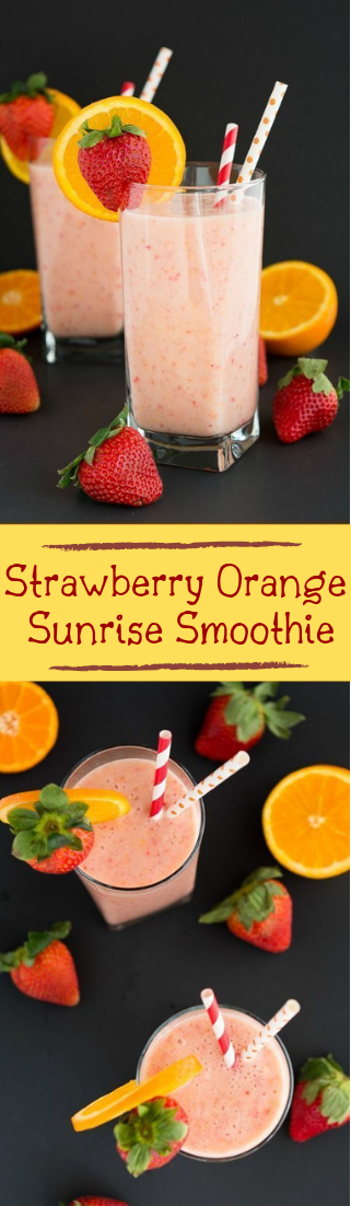 Strawberry Orange Sunrise Smoothie #healthydrink #easyrecipe