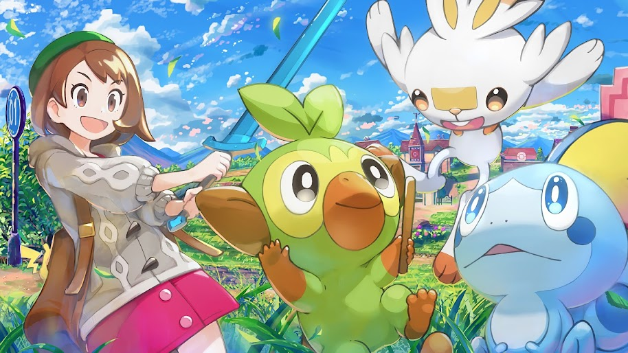 Pokemon Sword and Shield, Grookey, Sobble, Scorbunny, Female, Pokemon Trainer, 4K, #48
