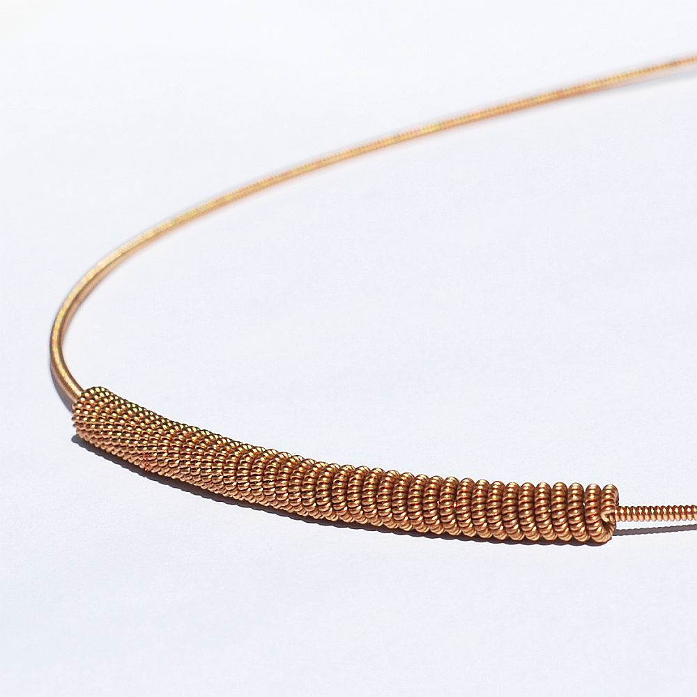 guitar string jewelry by tanith rohe guitar string jewelry bronze bar necklace. Black Bedroom Furniture Sets. Home Design Ideas