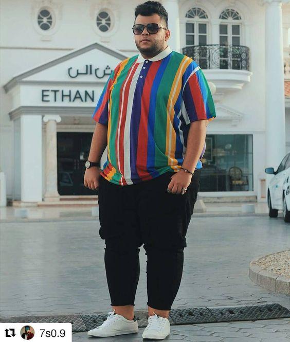 look masculino listrado homem gordo