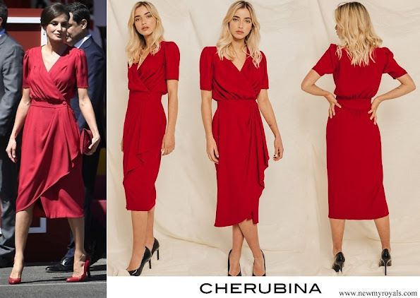 Queen Letizia wore a new crepe midi dress by Cherubina which is a Seville based Spanish fashion brand