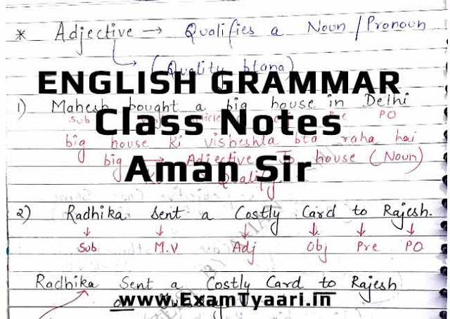 Full English Grammar Class Notes by Aman Sir [PDF Download] - Exam Tyaari