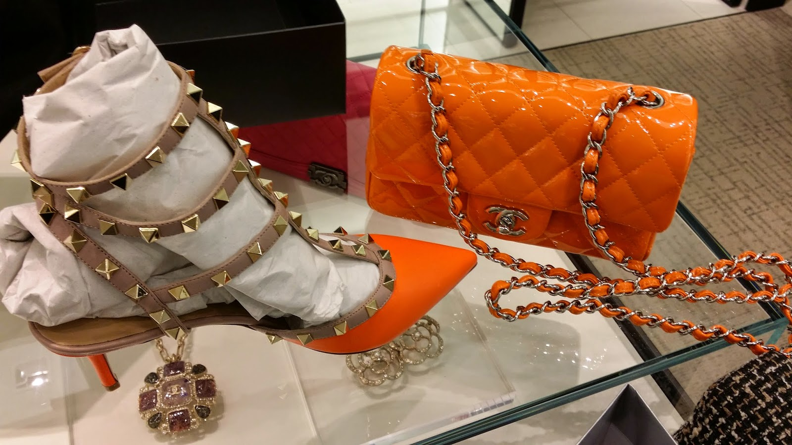 Mini Vs Woc Princess Cypress Tpf Chanel Orange Patent Leather Mini Vs
