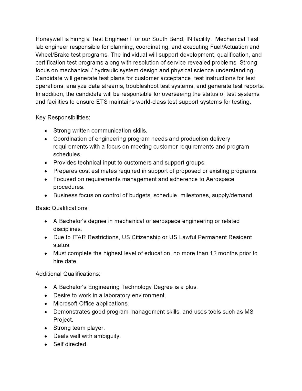 Honeywell Job Posting:Test Engineer (South Bend) | Purdue IE