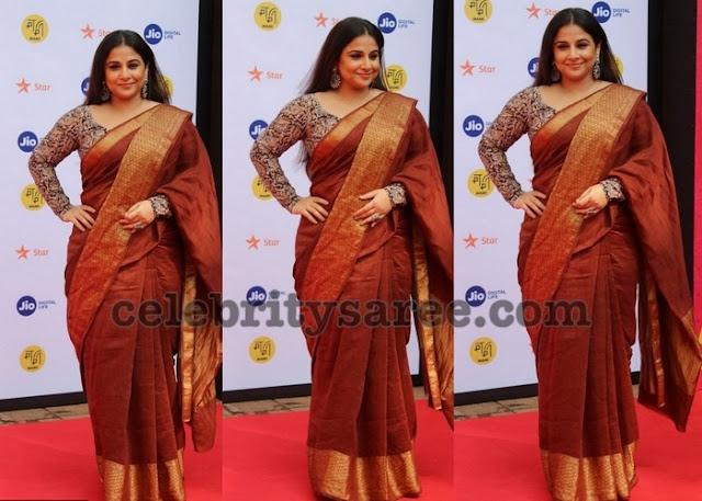 Vidya Balan Brown Silk Saree