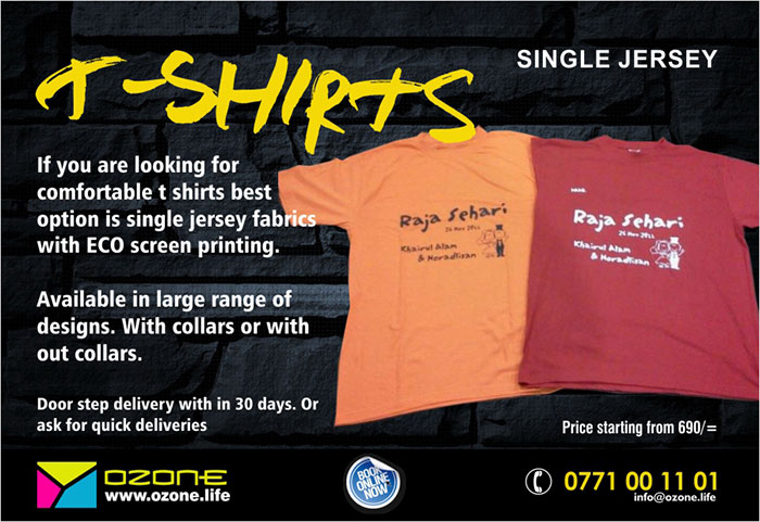 If you are looking for comfortable t shirts best option is single jersey fabrics with ECO screen printing. Available in large range of designs. With collars or with out collars. Door step delivery with in 30 days. Or ask for quick deliveries