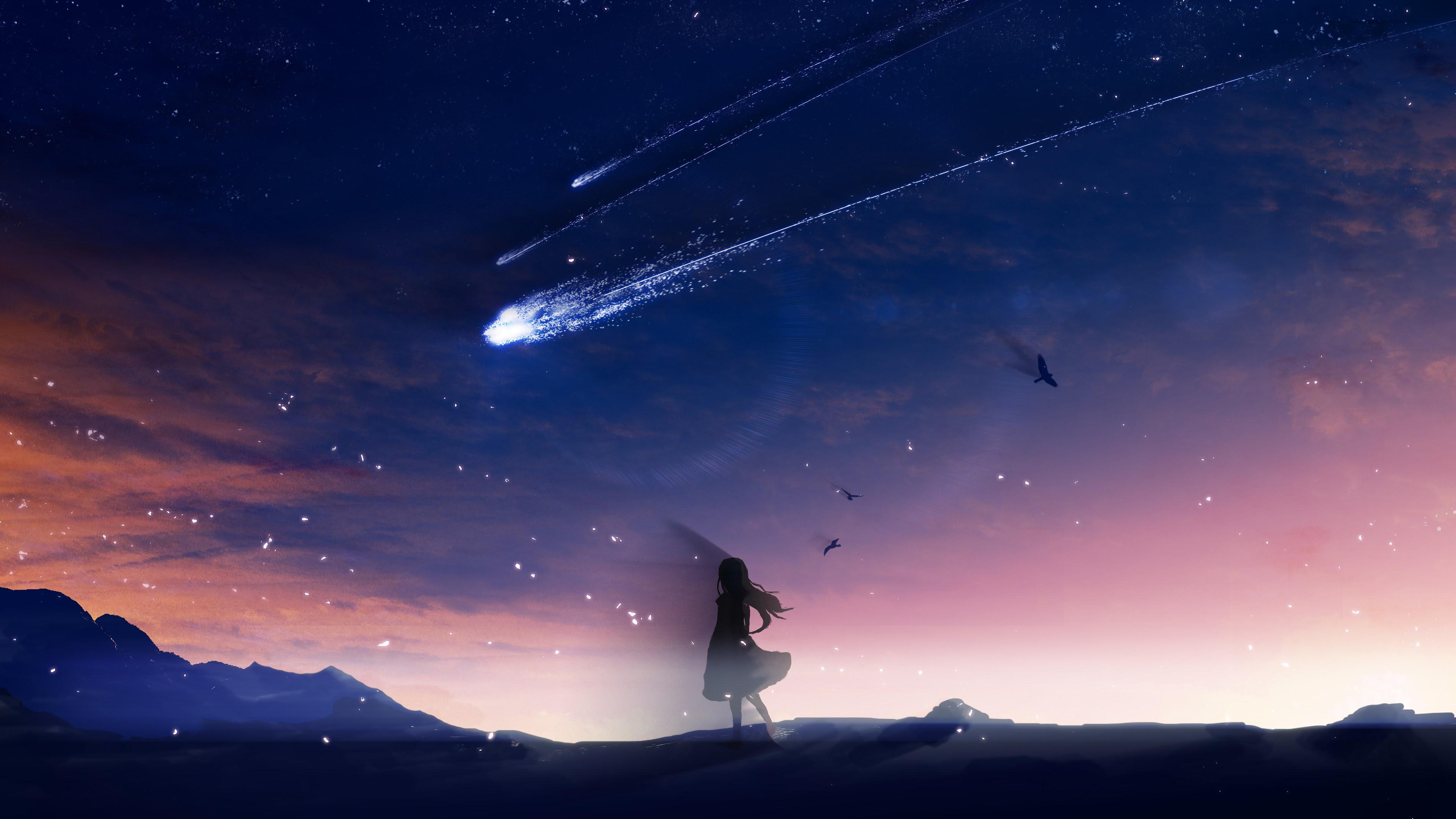 Anime, Night, Sky, Scenery, Comet, 4K, #119 Wallpaper