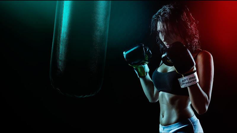 Girl Practicing Martial Arts HD