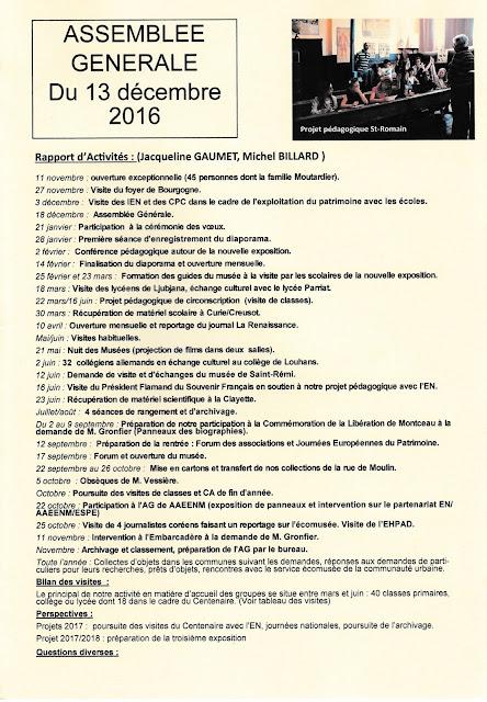 Rapport d'activités présenté par J. Gaumet (vice-Présidente) et M. Billard (Secrétaire)