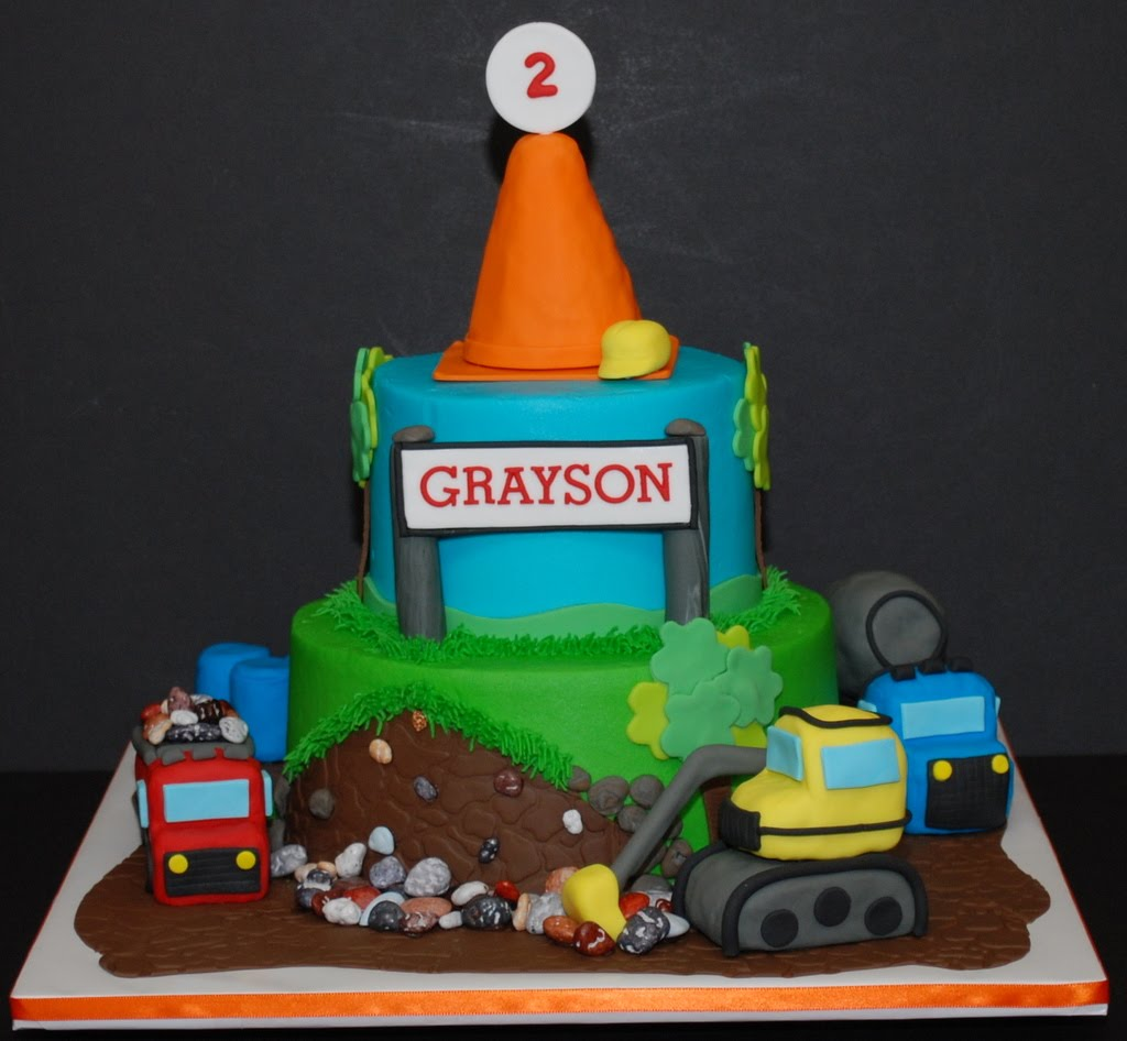His 2nd Birthday Cake Its A 6 9 Frosted In Buttercream With Fondant Decorations The Safety Cone And Construction Equipment