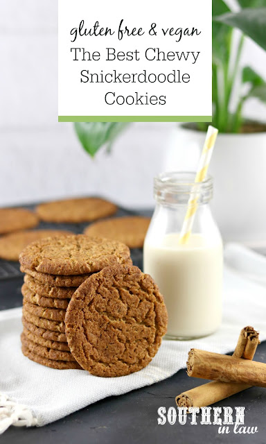 The Best Soft and Chewy Snickerdoodle Cookies Recipe - gluten free, vegan, easy cookie recipes, peanut free, clean eating recipe, sugar free