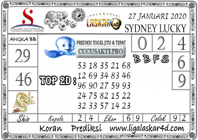 Prediksi Sydney Lucky Today LASKAR4D 27 JANUARI 2020