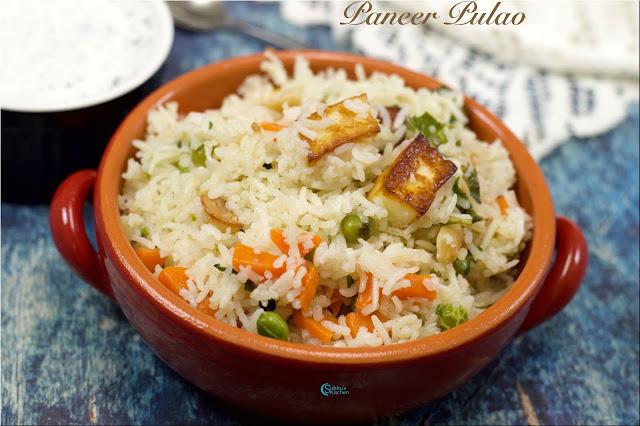 Paneer Pulao   No Onion No Garlic Paneer Pulav