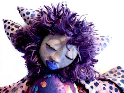 Original Sculpt Cloth and Clay Art Doll Purple Wild Woman