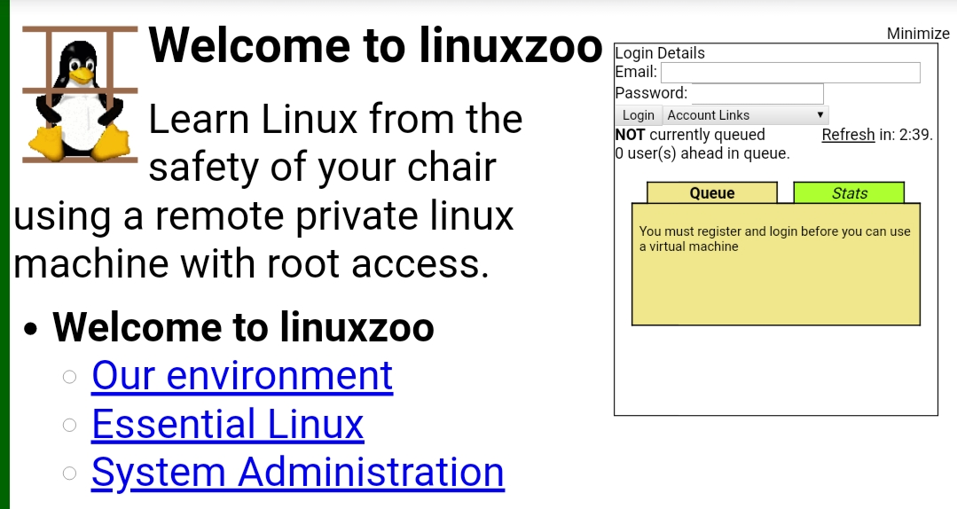 Linuxzoo interface
