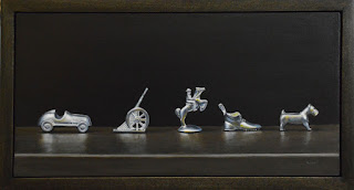 6x12 inch acrylic realism painting of monopoly board game pieces in a parade