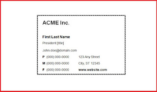 business card template word 2010