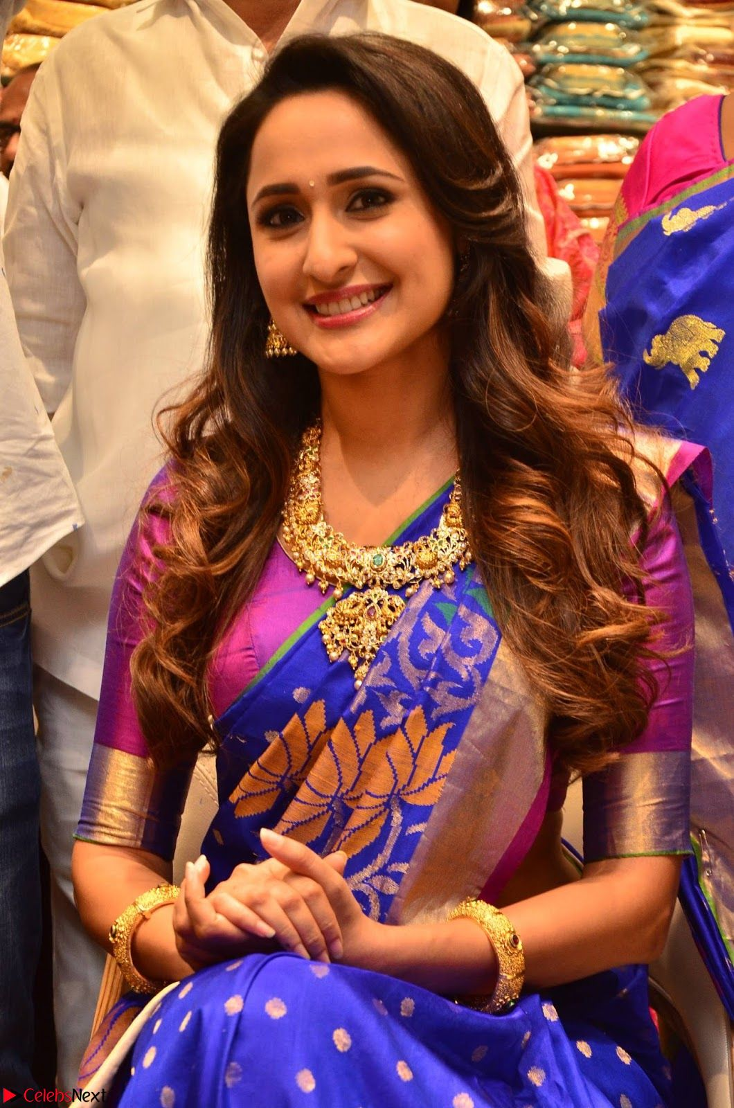 Pragya Jaiswal in colorful Saree looks stunning at inauguration of South India Shopping Mall at Madinaguda