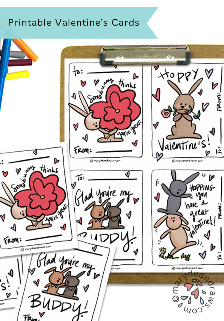 graphic regarding Printable Friendship Cards named Printable Bunny Valentine Playing cards - Marydean Attracts