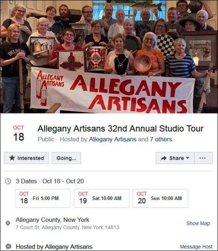 10-18/!9/20 Allegany Artisans Tour, Belmont, NY