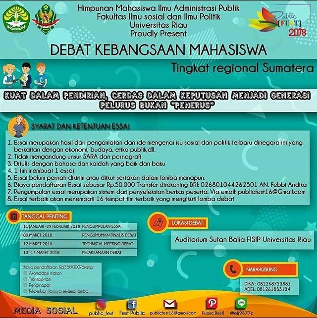 Lomba Debat Kebangsaan Mahasiswa Se-Sumatra 2018 | Univ. Riau | Deadline 29 Februari 2018 | Lomba.co