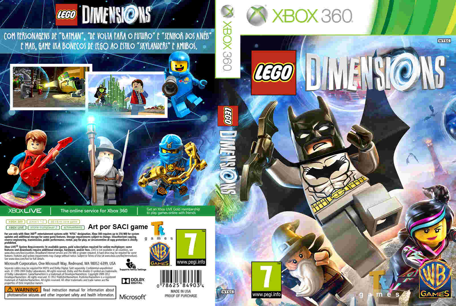 Tudo Gtba: LEGO Dimensions PAL - Cover & Label Game XBox 360Xbox 360 Game Cover Dimensions
