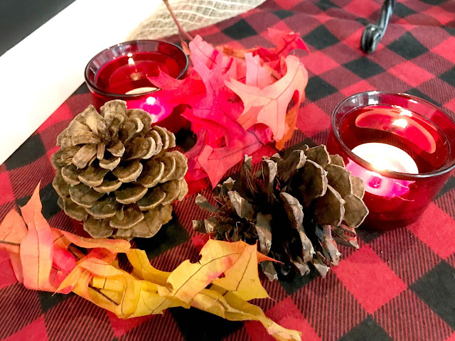Fall decor for a dessert bar.