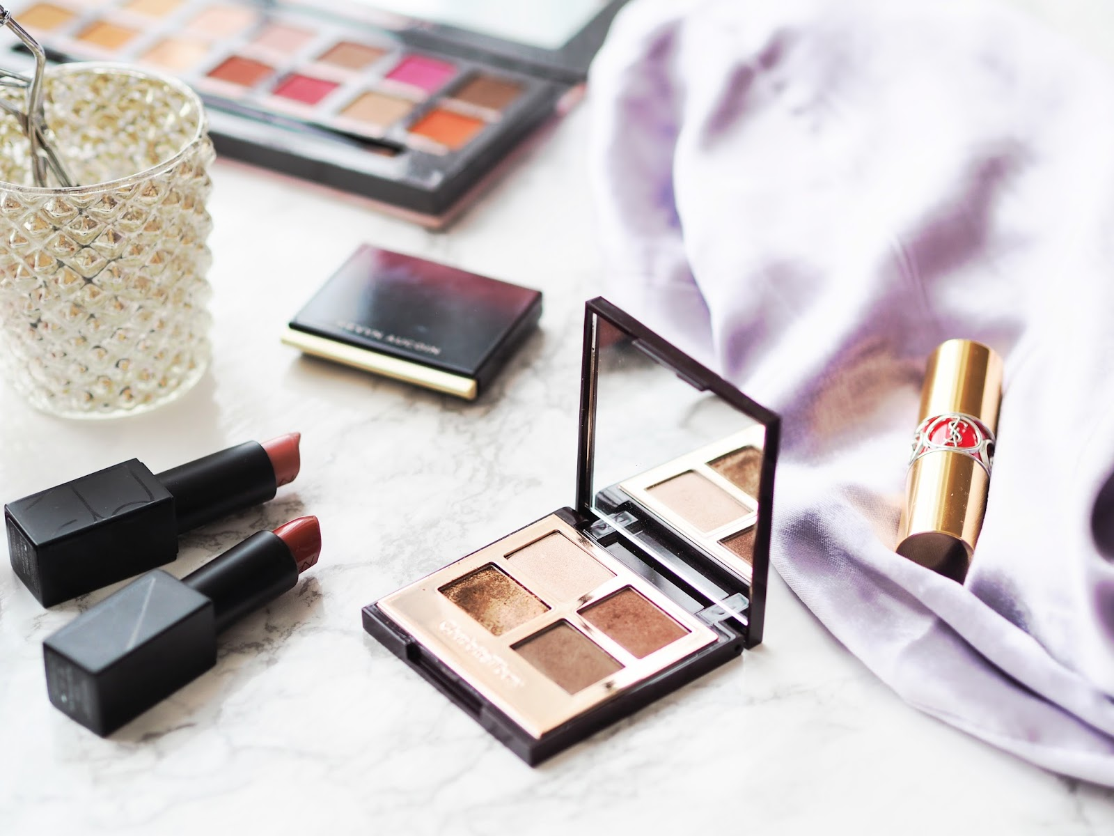 Luxury beauty worth the splurge, best luxury makeup, nars audacious lipstick, ysl volupte lipstick, anastasia modern renaissance palette, charlotte tilbury dolce vita, kevyn aucoin sculpting powder,