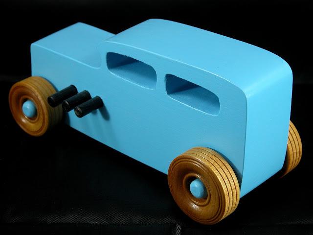 20171023-180022 - Wooden Toy Car - Hotrod Freaky Ford - Pine - Blue - Shellac Wheels- Custom Order