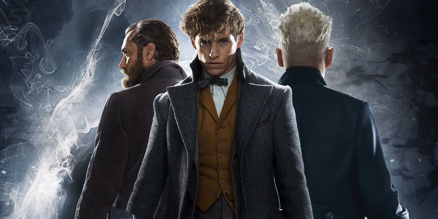 Jude Law as Albus Dumbledore, Eddie Redmayne as Newt Scamander