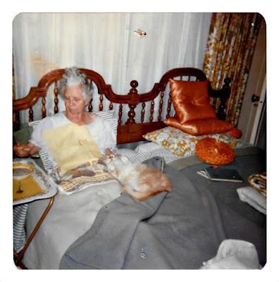 "Alberta G. ""Maggie"" Blatt eats soup in bed at 23 Ramona Avenue in Piedmont in 1980"