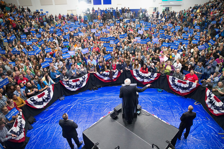 Sanders at rally in Indiana