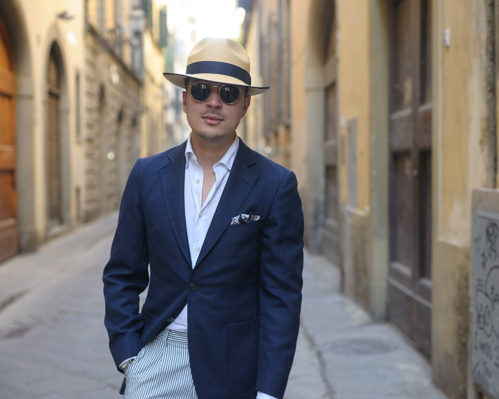 Lana Fresco, Navy SportCoat, Herringbone Australia, Uniqlo Chinos, Crockett & Jones Loafers, Christys' Hats, Orient Star, Ray-ban