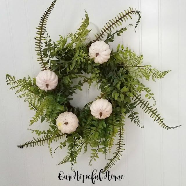 mini white baby boo faux pumpkins fern wreath