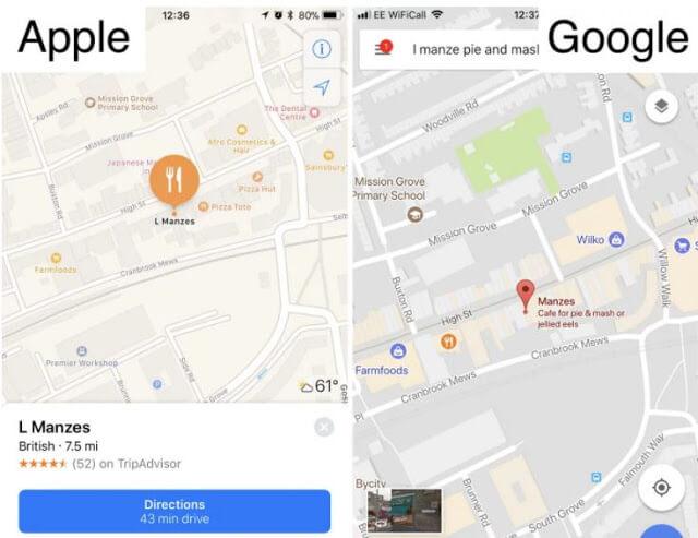 - أهم الميزات التي تتفوق فيها خرائط أبل على خرائط غوغل :