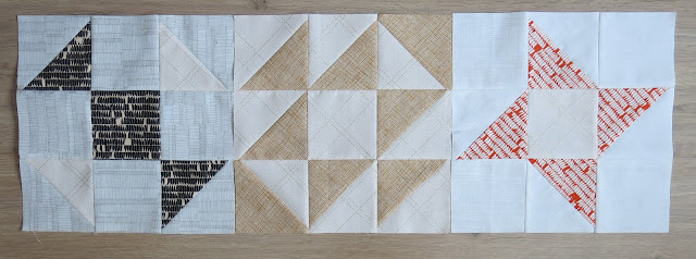 HST Quilt-Along - First three blocks - Carolyn Friedlander fabrics