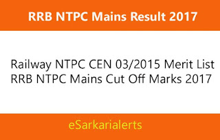 RRB NTPC Mains Result 2017 | Railway CBT 2nd Merit List/Cut Off Marks