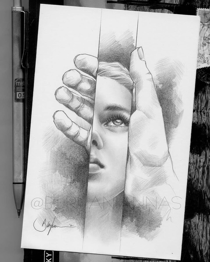 03-Reflection-Nas-Pencil-Drawings-www-designstack-co