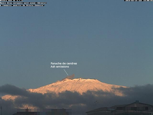 Emission de cendres sur le volcan Etna à 18h00 (heure locale), vue depuis Bronte, 19 mars 2016