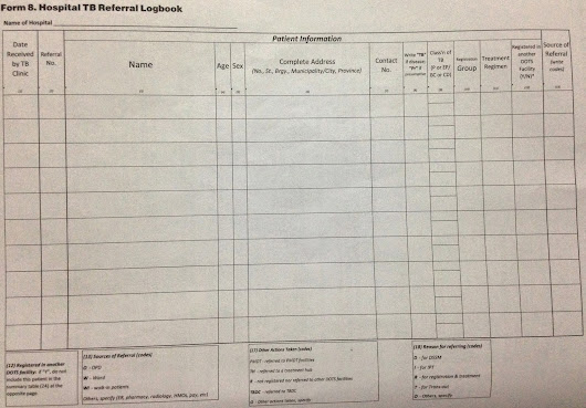 How to Fill up The Hospital TB Referral Logbook for NTP