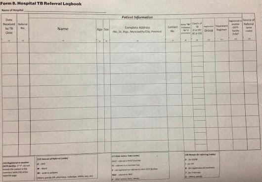 form 8 hospital tb referral logbook ntp doh