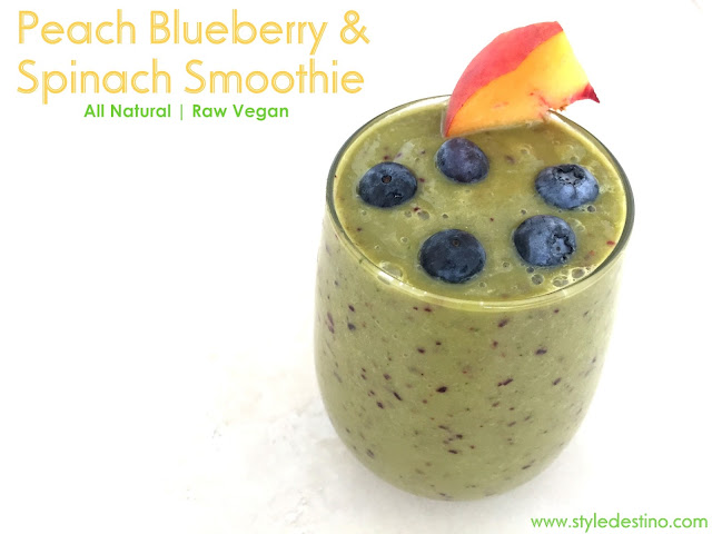 Peach Blueberry and Spinach Smoothie - Raw Vegan - Smoothie Recipe - Healthy Living - LOSE WEIGHT - Best Smoothie Recipe