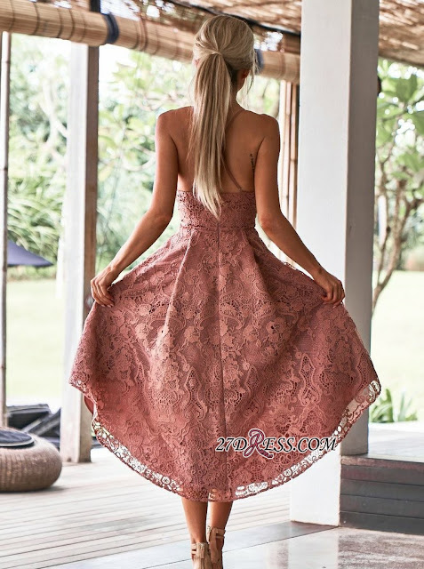 Modest Spaghetti Strap A-line Hi-lo Homecoming Dress | Lace Short Party Gown