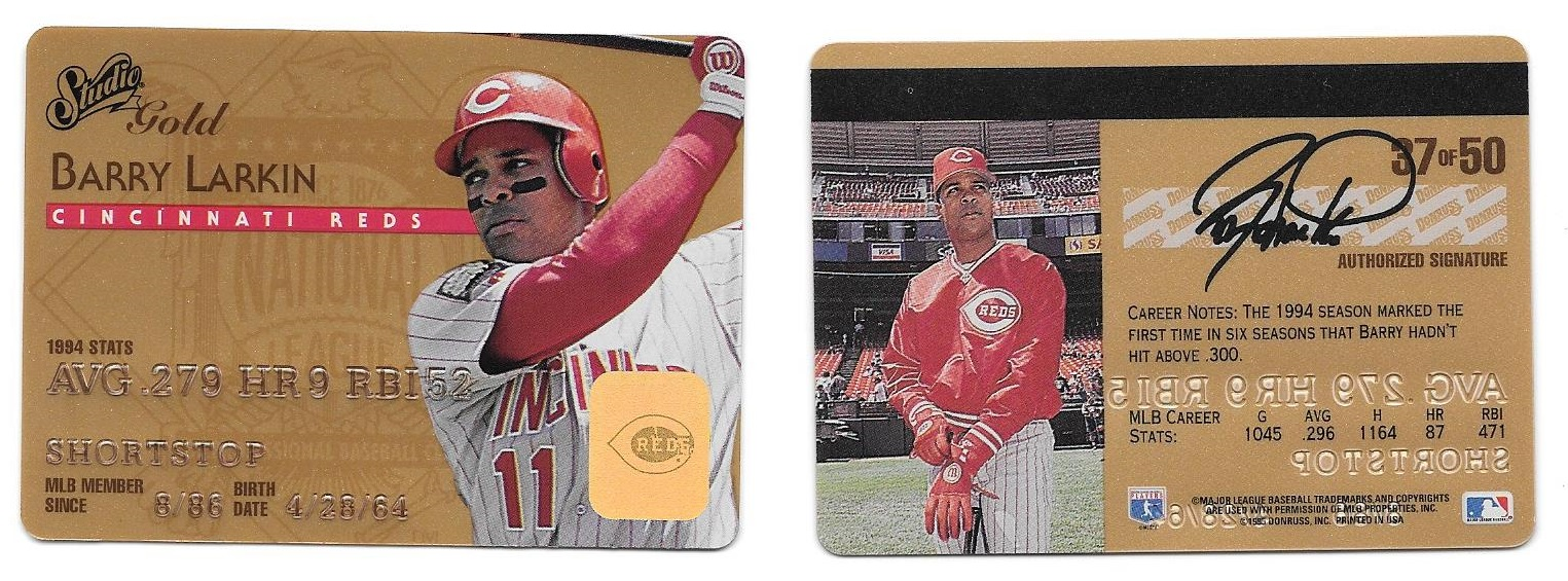 Barry Larkin Collection 435 1995 Studio 37 Gold Parallel