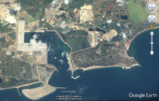 Map Attributes: Port of Hambantota, Sri Lanka / (c) 2016 TerraMetrics and DigitalGlobe via Google Earth